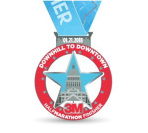 2018 3M Half Marathon Finisher Basno badge.