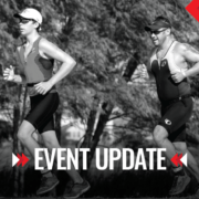 Image of two triathletes on the Jack's Generic Triathlon run course. Graphic contains the phrase update and announces that 18th annual Jack's Generic Triathlon is canceled.