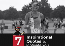 Female triathlete crosses the Jack's Generic Triathlon finish line. Text in design reads 7 Inspirational Quotes to Motivate You.