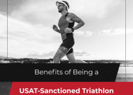Male triathlete competes during the run segment of a triathlon. Text on design reads Benefits of Being a USAT-Sanctioned Triathlon. Read more at https://jacksgenerictri.com/2020/10/usat-sanctioned-triathlon/