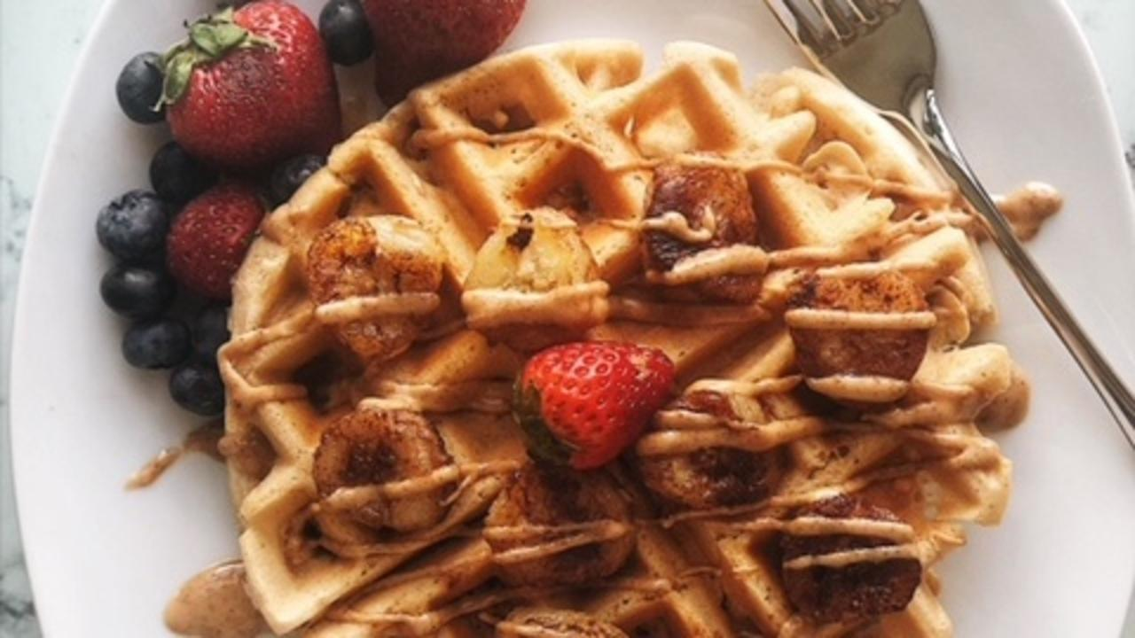 Caramelized Banana Protein Waffles with Almond Butter