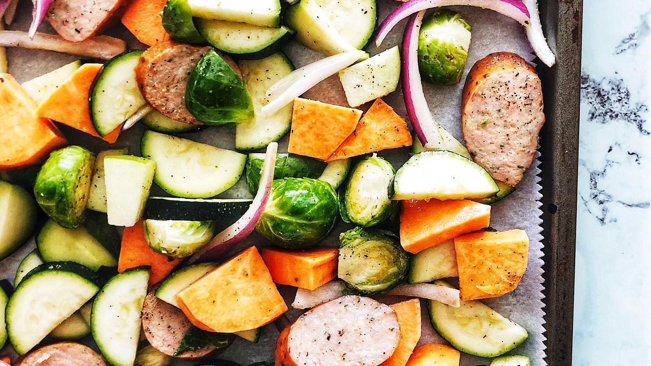 Sheet Pan Roasted Veggies and Chicken Sausage