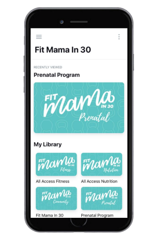 Screenshot of Fit Mama in 30 app on a mobile phone