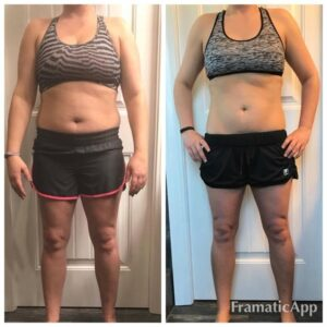 Woman poses in front of camera for a before and after photo