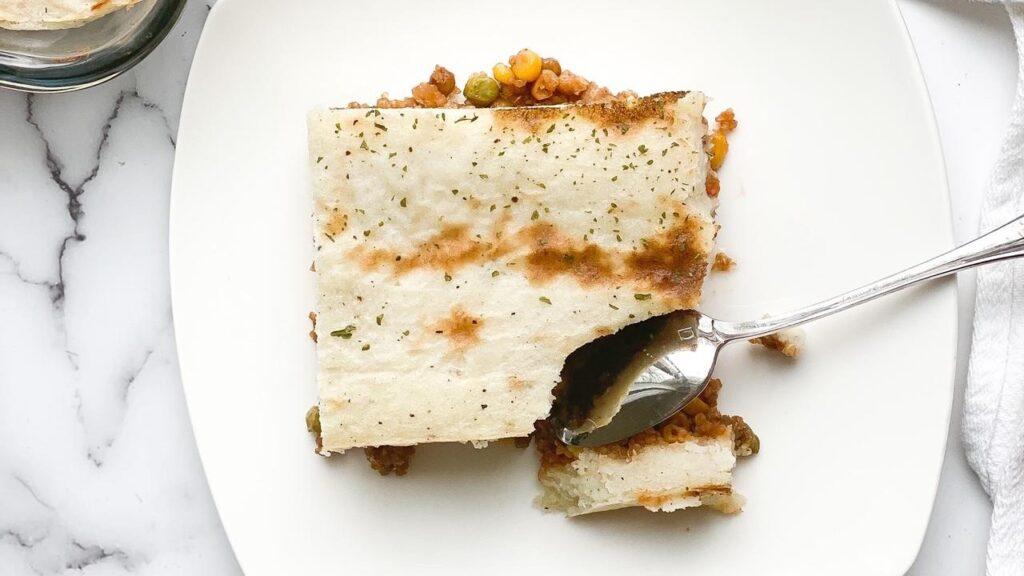Image of vegetarian shepards pie with spoon