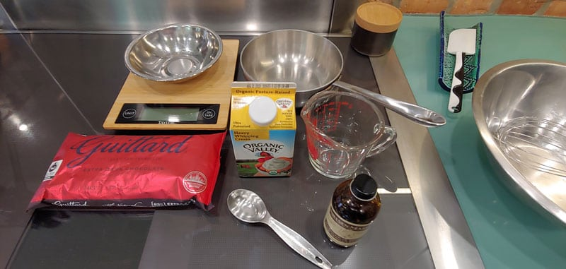 Shop with The Doc Chocolate Mousse, photo of ingredients for chocolate mousse