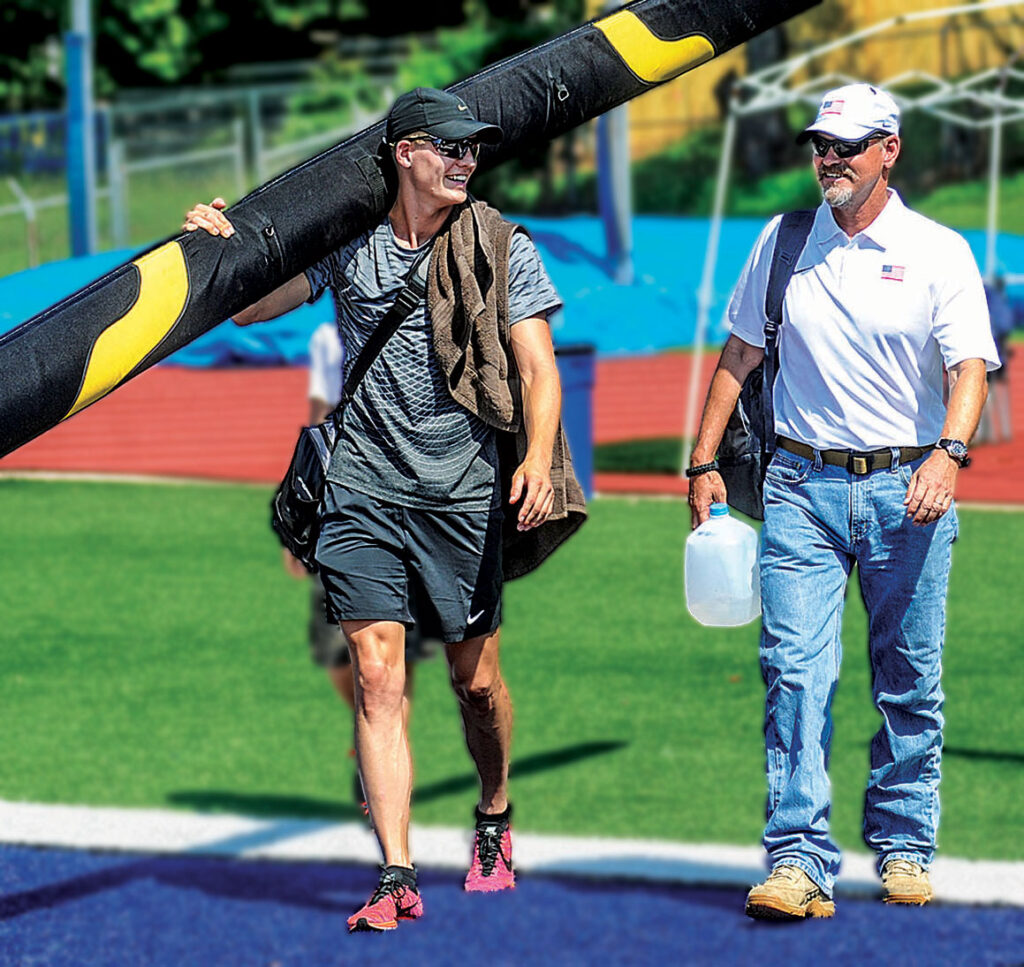 Scott Kendricks walk across the track together with son Sam - AMerican Record Holder in the Pole Vault.