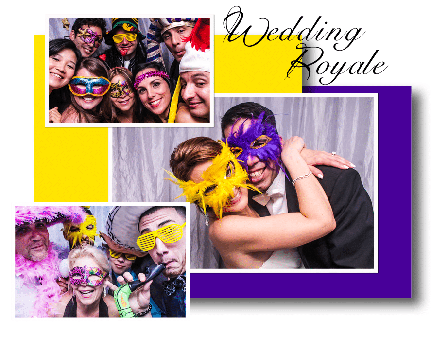 Bride and groom with friends in photo booth