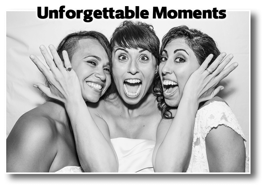 Three women taking photo in photo booth
