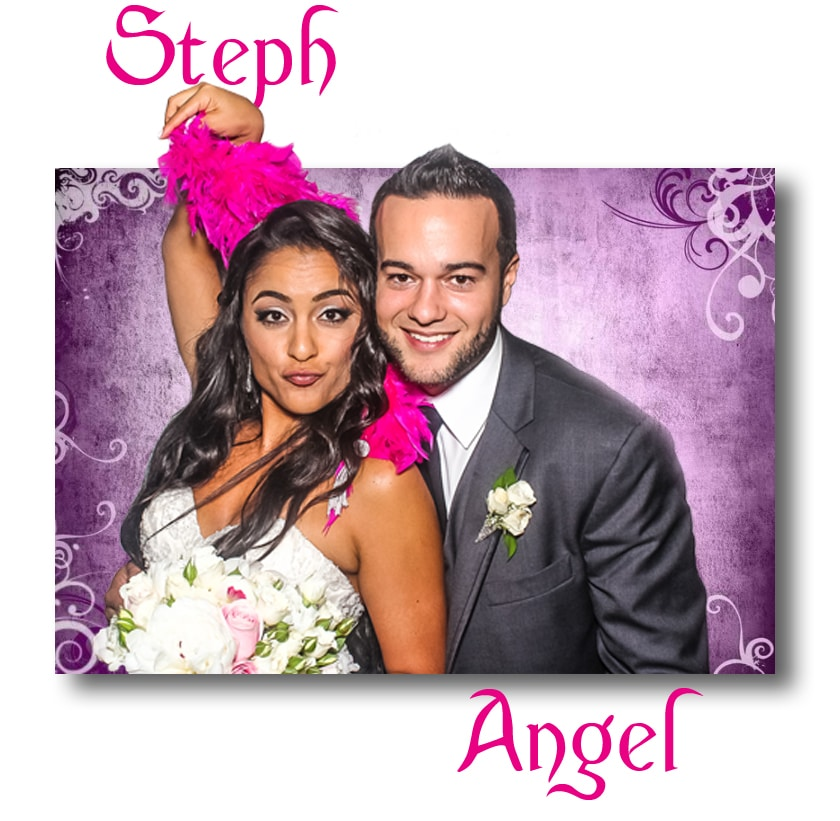 Bride and groom posing in photo booth lounge