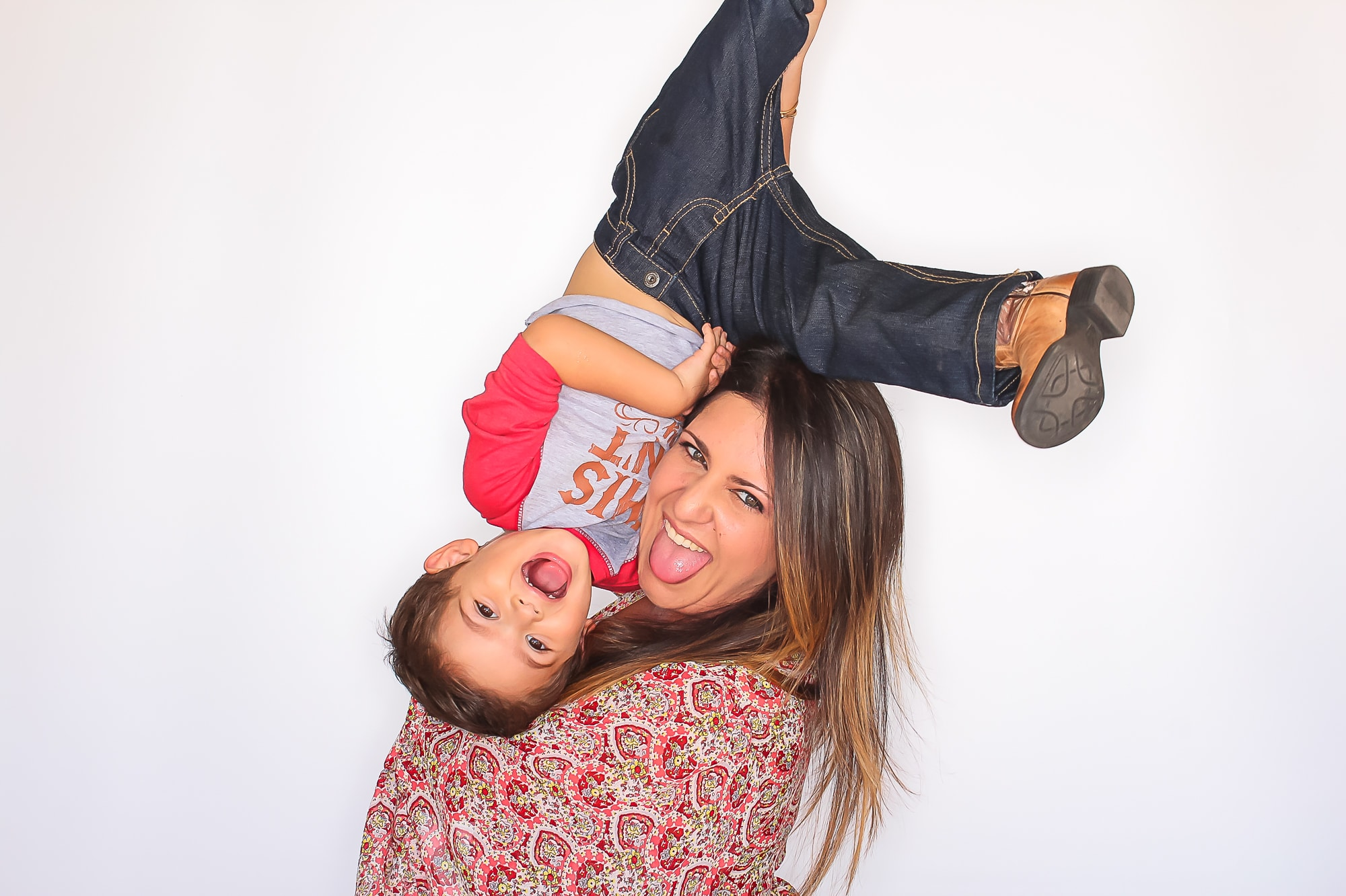 Mom and child flipped in photo booth