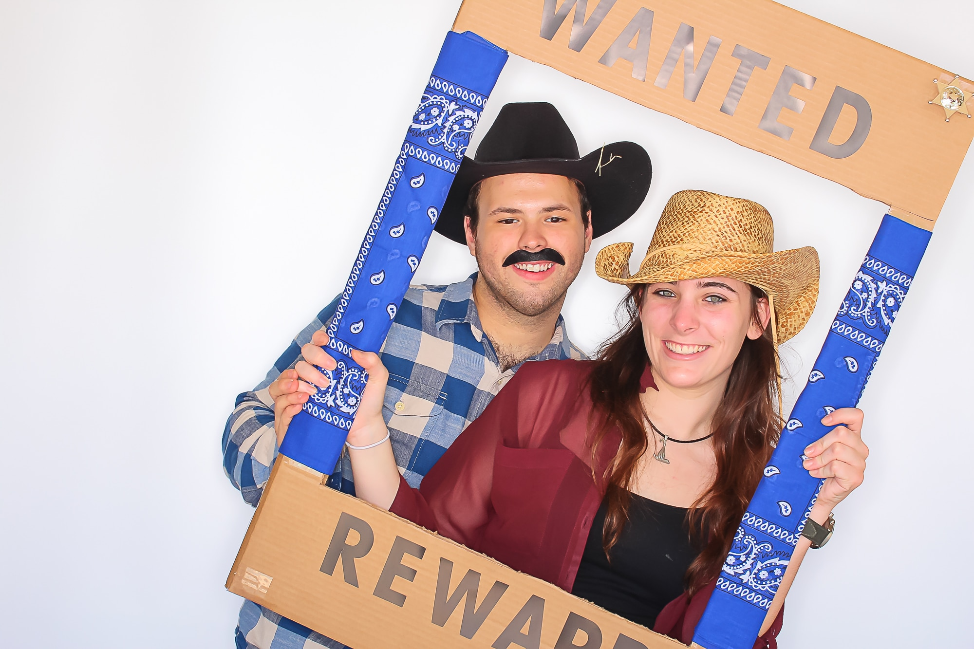 Cowboy and cow girl photo booth photo Instagram Frame