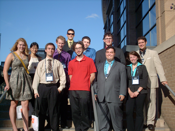 Members of YSU's 2013 MathFest team are, left to right: (Back row) Kim Do, Blain Patterson, Camron Bagheri, Shawn Doyle, Michael Baker and Dan Catello. (Front row) Sarah Ritchey, James Munyon, Matt Pierson, Eric Shehadi and Ashley Orr. Photo courtesy of George Yates.