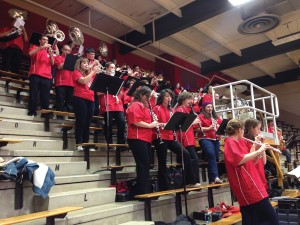 The Youngstown State University pep band performs for the crowd at a basketball game in Beeghly Center. Photo courtesy of Scott Miller.