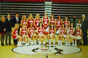 (Above) The 1997-1998 YSU women's baskteball team finished with a 28-3 overall record and captured the school's only-ever NCAA Tournament victory. (Right) Shannon Beach (42) was named the Mid-Continent Conference Player of the Year.