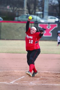 Casey Crozier pitches against Robert Morris University in game two of the doubleheader. Crozier is 9-4 this season. Photo by Dustin Livesay/ The Jambar.