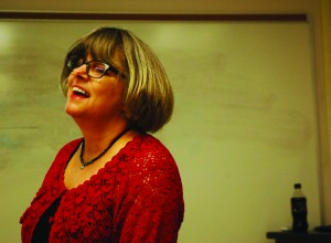 Cinda Williams Chima spoke in Rebecca Barnhouse's Young Adult Literature class on Monday.