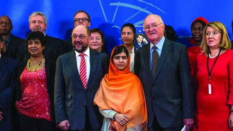 Malala Yousafzai, who was awarded the Nobel Peace Prize, stands with family members after being presented with the 25th Sakharov Prize for Freedom of Thought by the European Parliament in 2013. Photo courtesy of Claude TRUONG-NGOC/Wikimedia Commons.