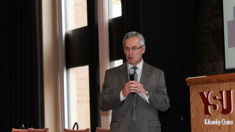 President Jim Tressel welcomes multicultural high school students to YSU's campus. iExcel introduced prospective students to what YSU has to offer. photo by Frank George/The Jambar.