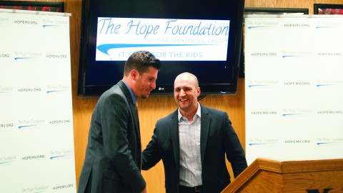Ohio State Senator Joe Schiavoni shakes hands with Anthony Spano, the founder of the Hope Foundation, at the press conference on Nov. 20, where the Hope Foundation presented several grants to various local nonprofits. Photo by Liam Bouquet/ The Jambar.