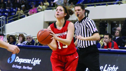 Sophomore forward Kelsea Newman (13) attempts a 3-point shot during the Penguins 78-52 loss to the University of Pittsburgh at the Petersen Events Center. Newman is shooting 41.3 percent from behind the 3-point line. Photo courtesy of Sports Information.