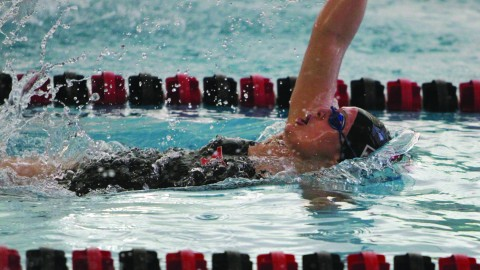 Senior swimmer Ashley Dow competed in the 100 Butterfly during the Magnus Invitational on Nov. 22, 2014. Dow finished with a time of 59.15, which is the second fastest time for the team this season. Photo courtesy of YSU Sports Information.