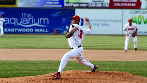 Senior pitcher Ryan Krokos played in 13 games last season, starting 11 games. Krokos started in Youngstown State University's Horizon League Championship victory against Wright State University on May 24, 2014. Photo courtesy of Ron Stevens.