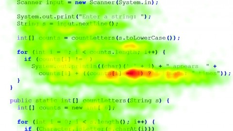 YSU students participated in a study that uses a remote eye tracker to track eye movement using infrared light. The image shows a Java program with a student's eye gaze placed on a heat map to show where he or she looked when viewing source code. Photo courtesy of Bonita Sharif.