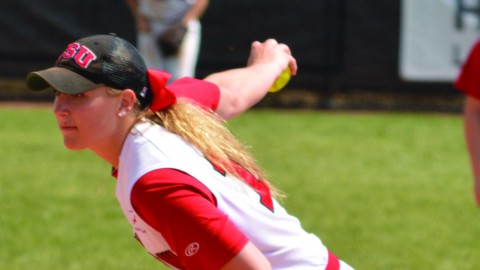 Freshman pitcher Ashley Koziol pitched a complete game in the second game of the Youngstown State University softball team's doubleheader. Koziol's record stands at 5-5 after picking up a win the second game of the doubleheader and a loss in the third game of the series. Photo courtesy of YSU Sports Information.