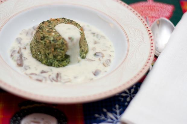 Spinach Sformatino with Mushroom Sauce