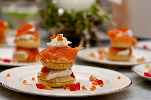 Mini Towers of Smoked Trout