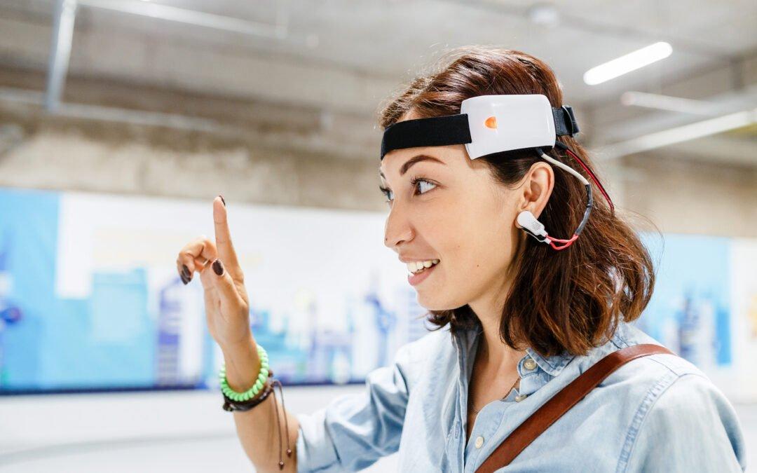 Woman with digital headset sensor