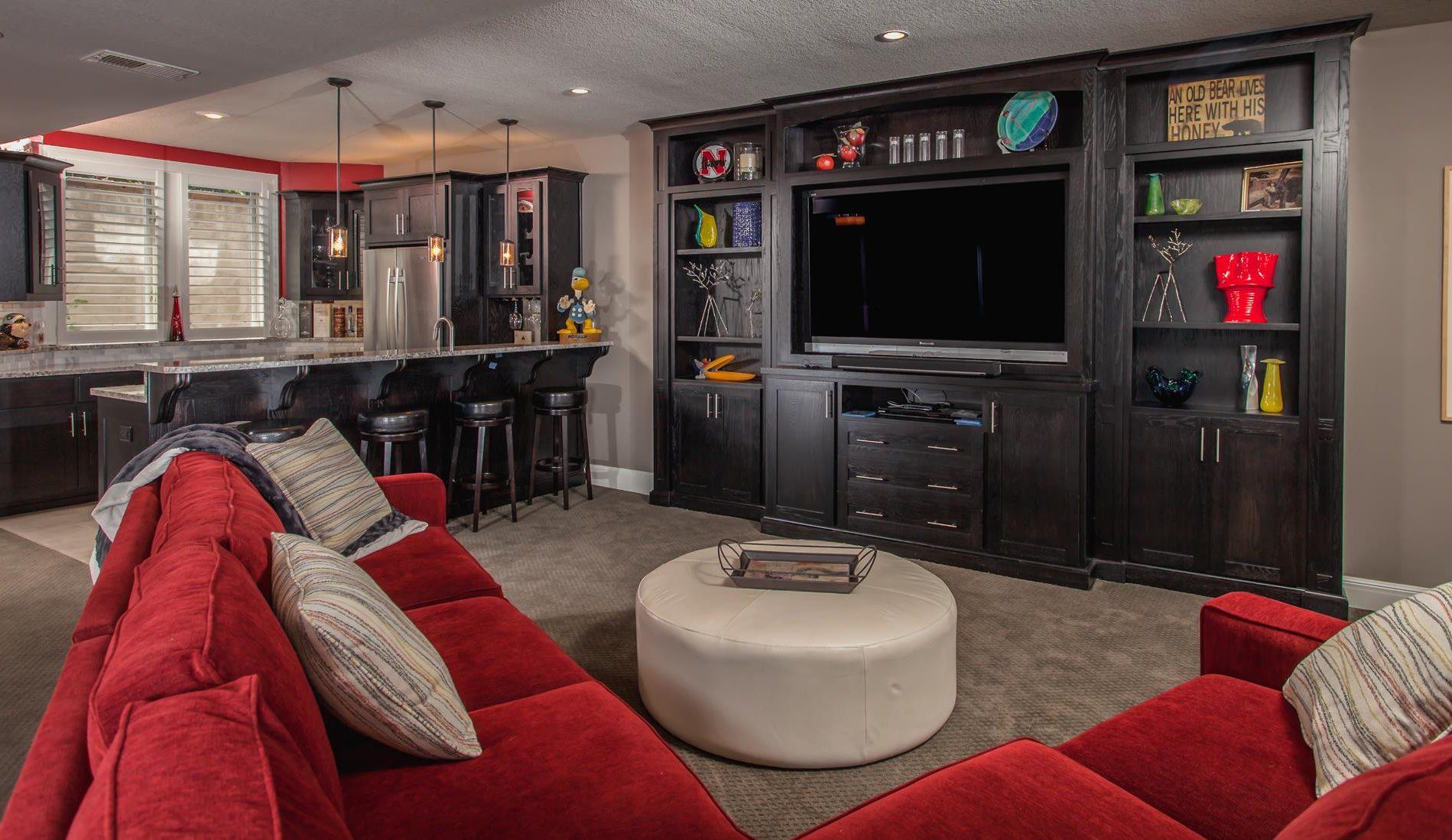 basement finish home theater bar
