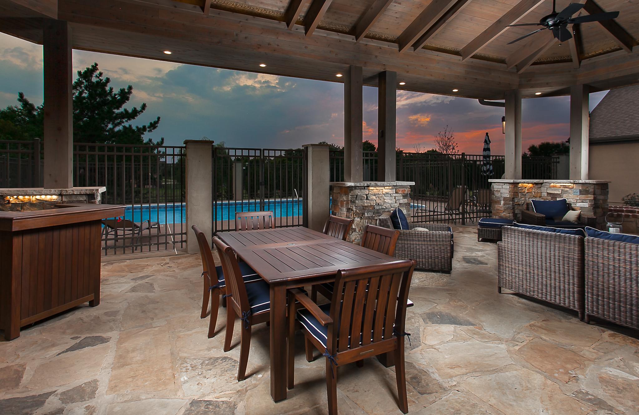 outdoor kitchen gazebo patio pool