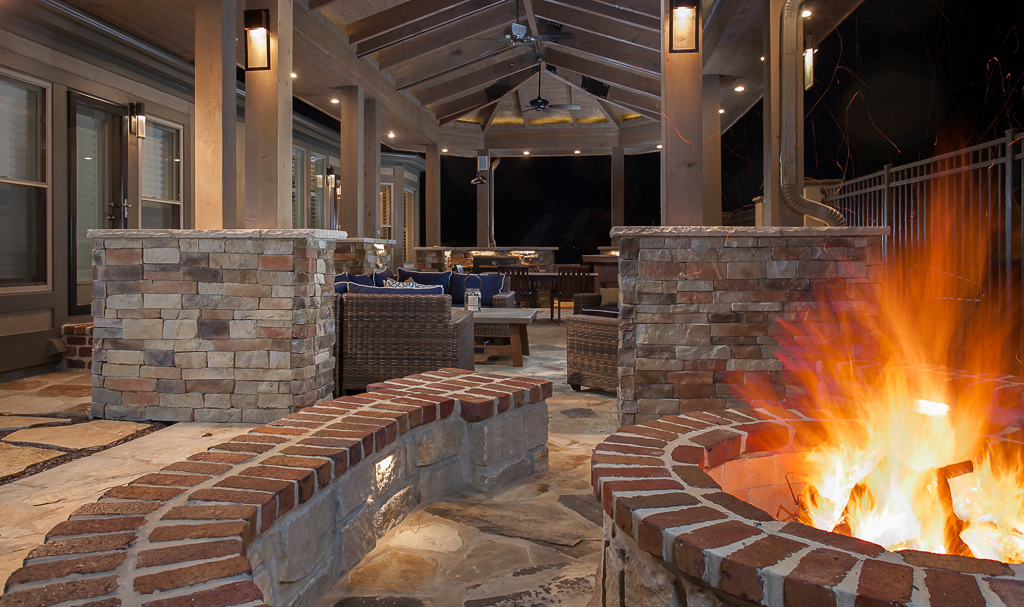 covered patio firepit outdoor seating