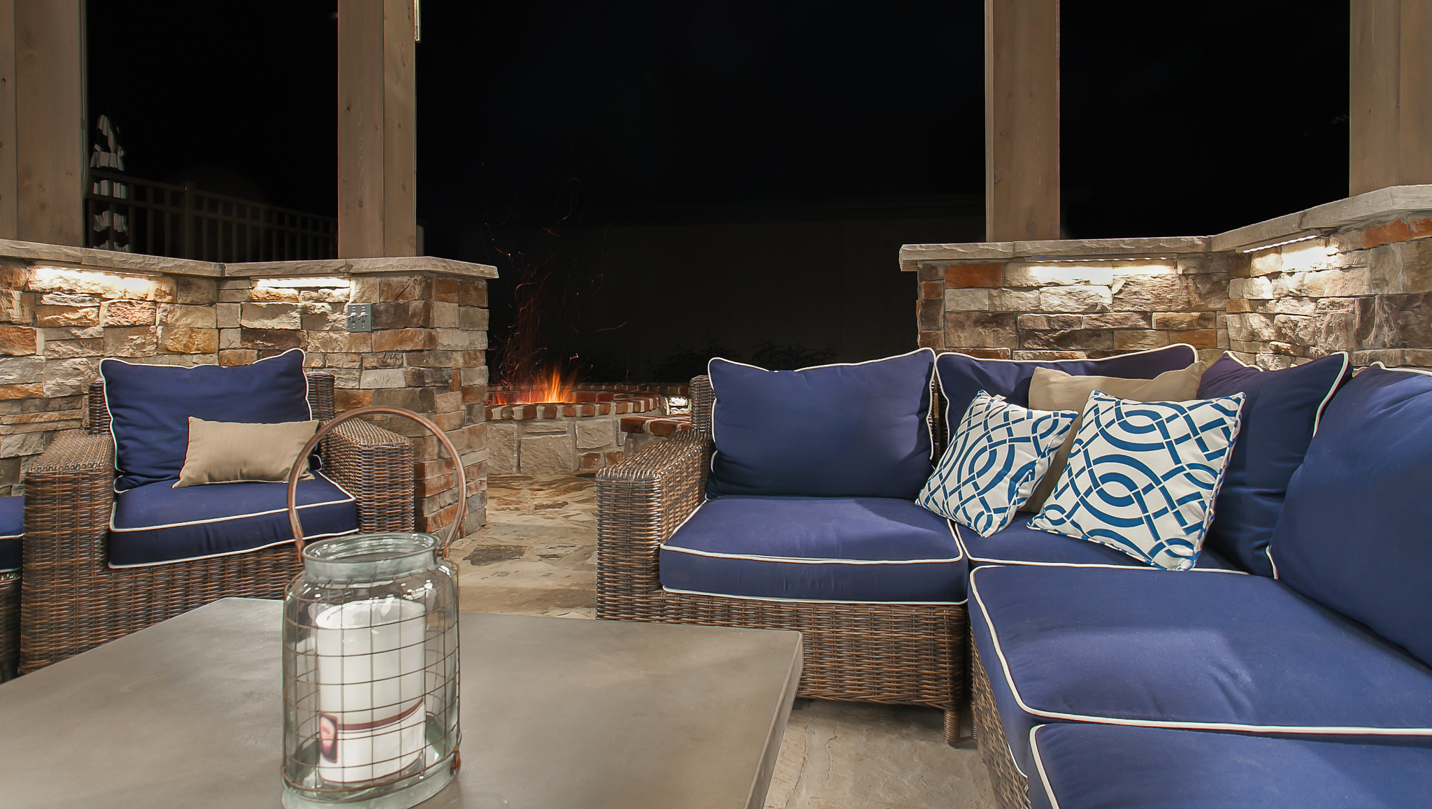 patio firepit outdoor seating
