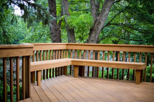multi level deck built in seating