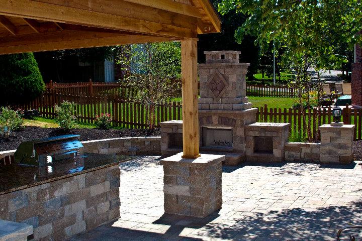 outdoor kitchen fireplace stonework