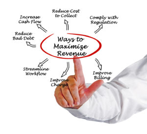 "revenue cycle management graphic: hand pointing to ""ways to maiximize revenue"" with 7 sub categories such as Improve billing, increase cash flow, comply with regulation, reduce bad debt, streamline workflow"