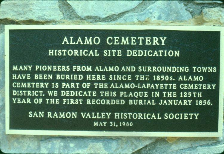 Alamo Cemetery Plaque