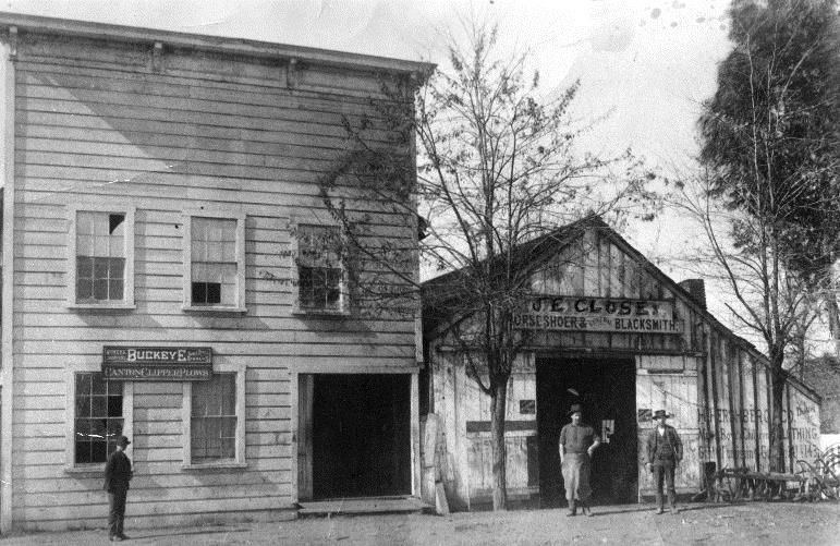 Close buildings on Front Street, Danville