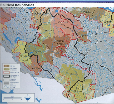 Drawing of the Walnut Creek Watershed from the Contra Costa County Watershed Atlas, 2003.    The Alameda Creek Watershed extends south of this boundary.