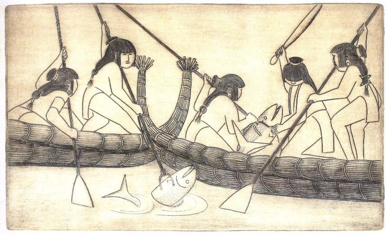 Drawing of Chupcan Indians fishing by Bunner McFarland
