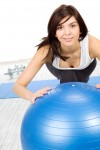 Woman on Exercise Ball doing Rehab