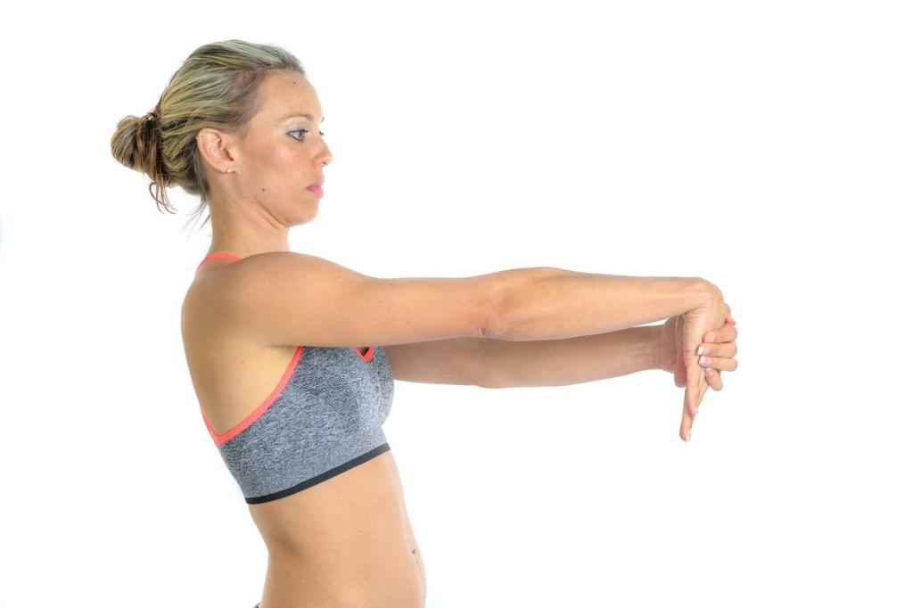 Forearm flexor stretch for tennis elbow