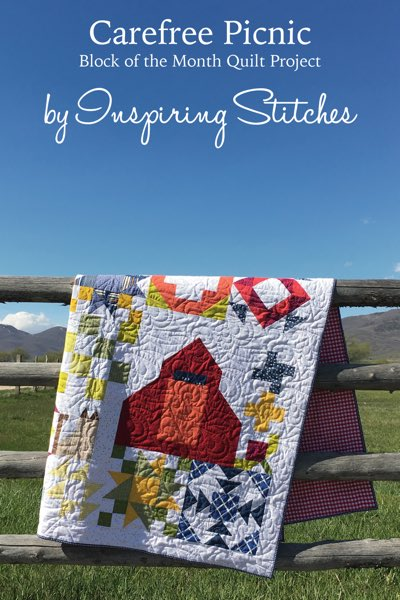 Carefree Picnic a Block of the Month Pattern by Inspiring Stitches