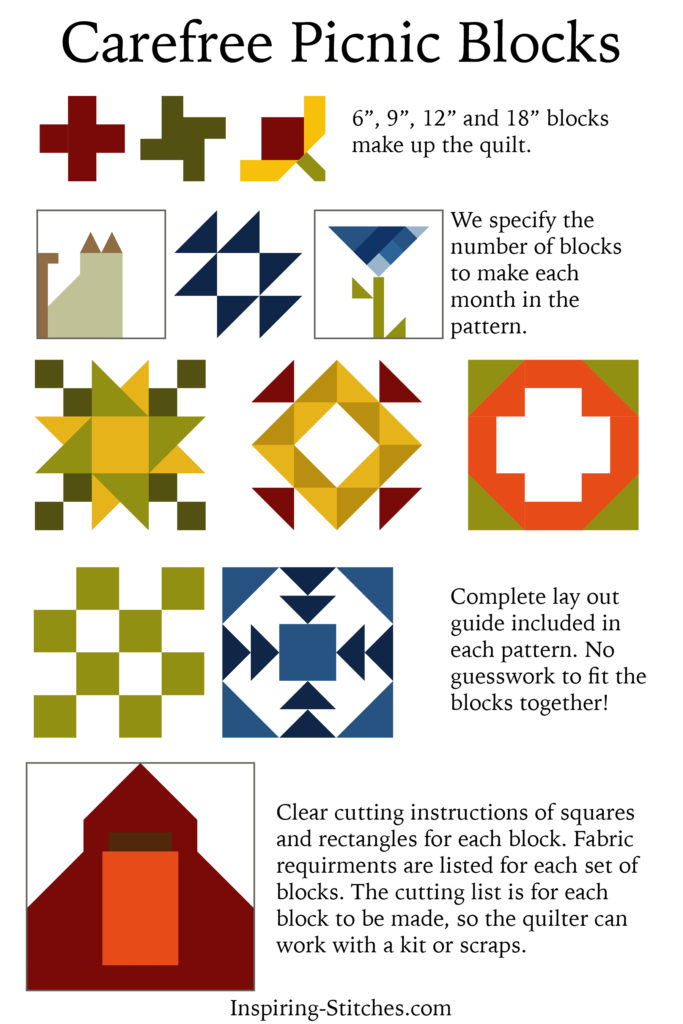 Carefree Picnic Quilt Pattern by Inspiring Stitches