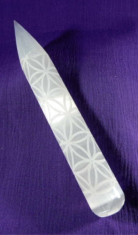 Selenite Flower of Life Massage Wand