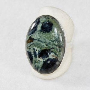 Star Galaxy Jasper Oval Ring - Size 8