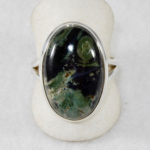 Star Galaxy Jasper Small Oval Ring - Size 10